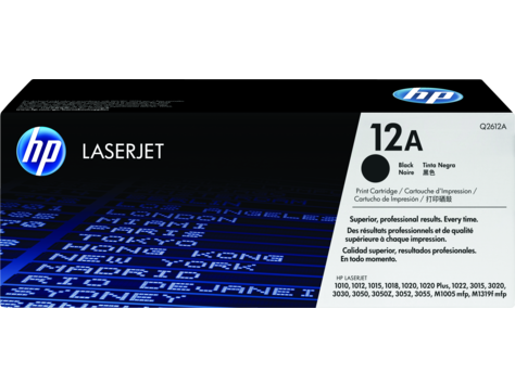 Hp 12A Toner Cartridge, Black  Q2612A  For Use With Hp Laserjet 3030 , Hp Laserjet 1020 Plus