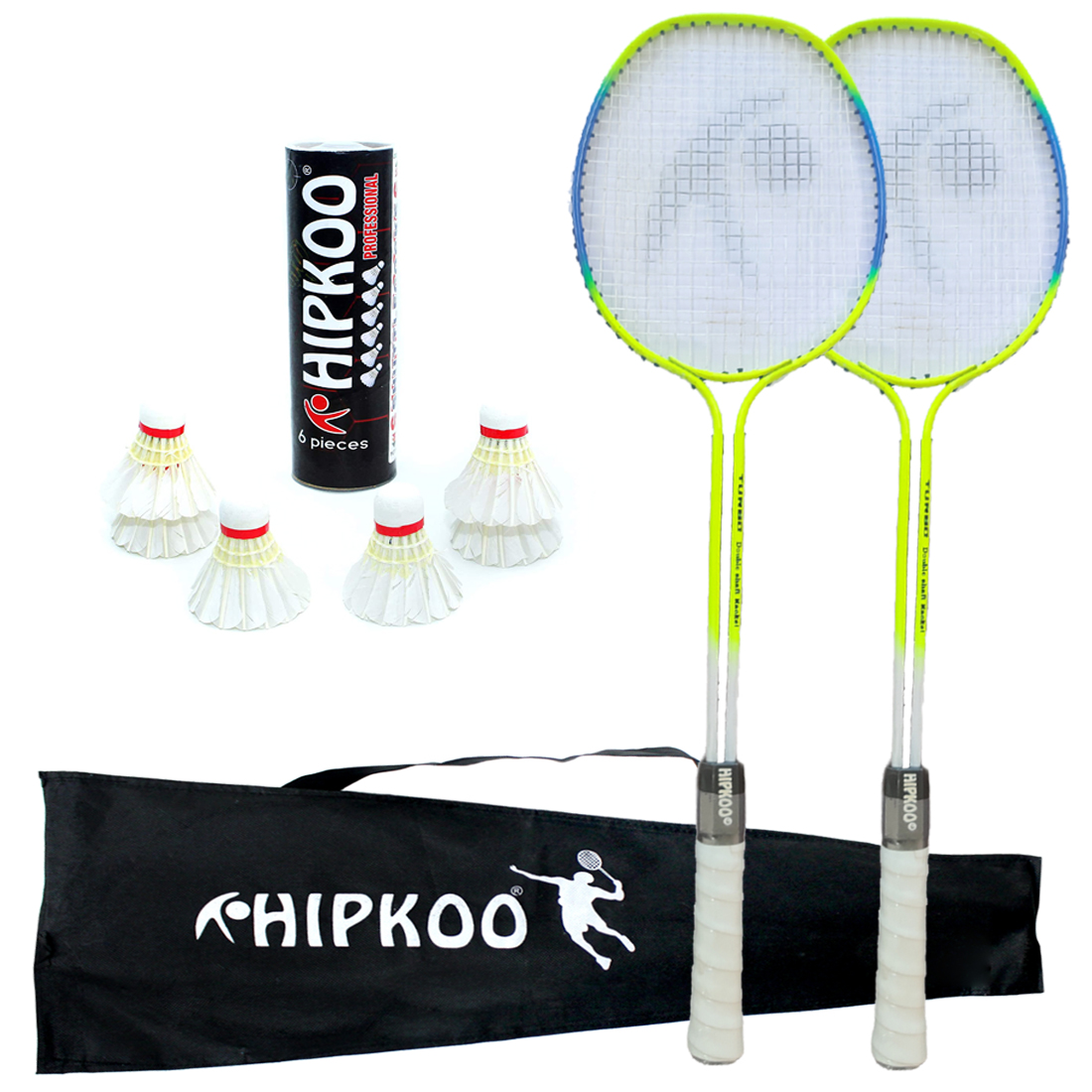 Hipkoo Sports Turbo Double Shaft Badminton Rackets, 6 White Feather Shuttles With Cover Badminton Kit