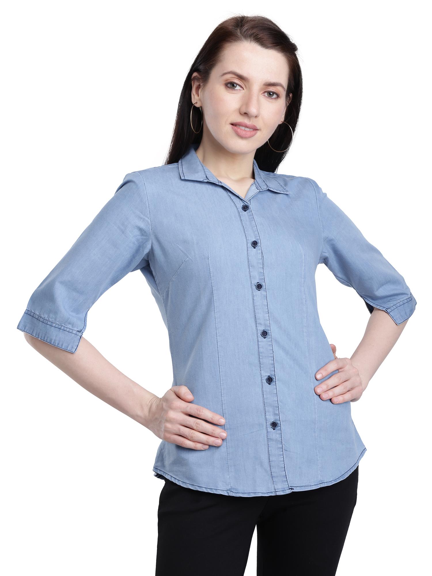 Kandy Women's Plain 3/4 Sleeves Casual LightBlue Denim Shirt