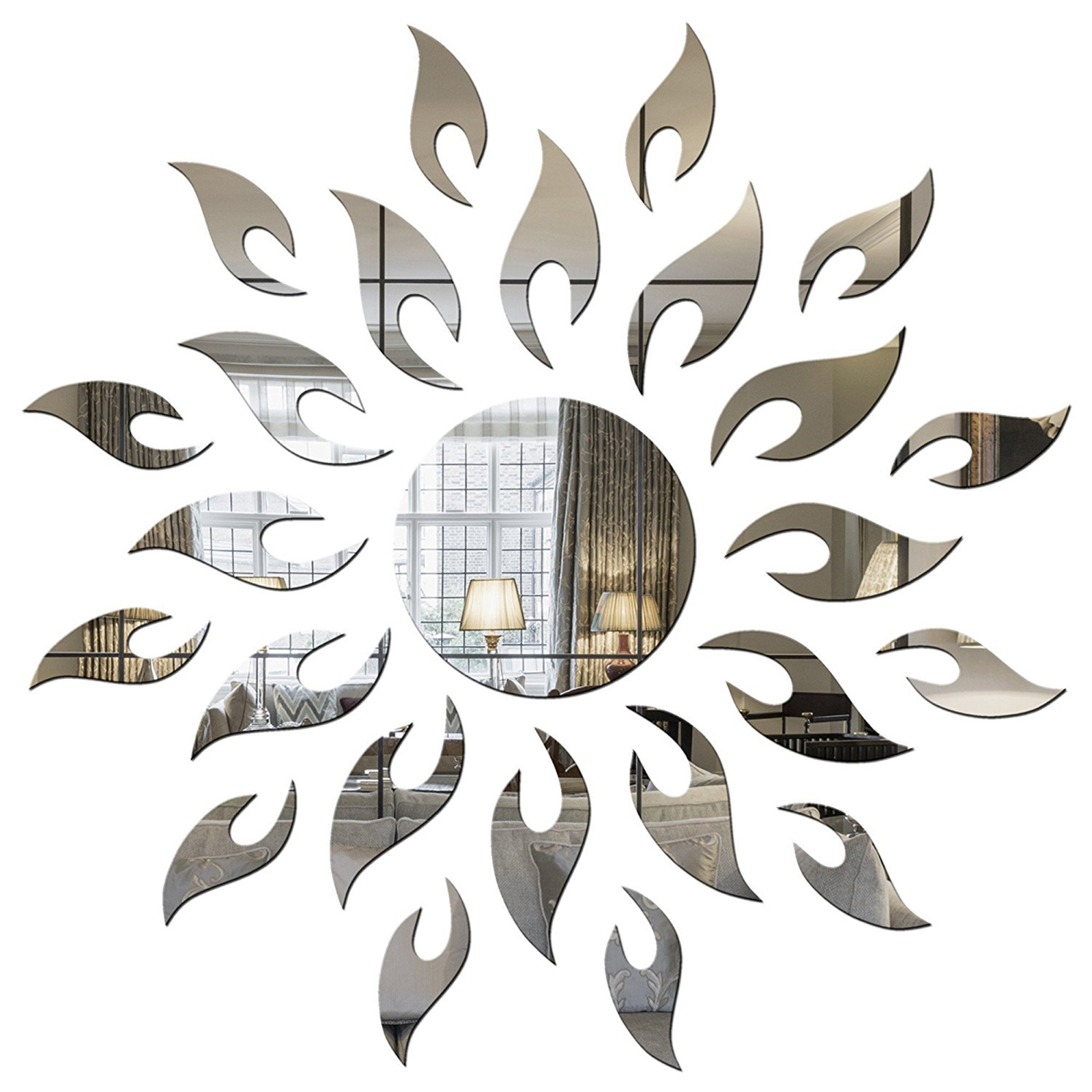 Sun Silver  Size 45 cm x 45 cm  PREMIUM QUALITY 3D Acrylic Mirror wall stickers for home office