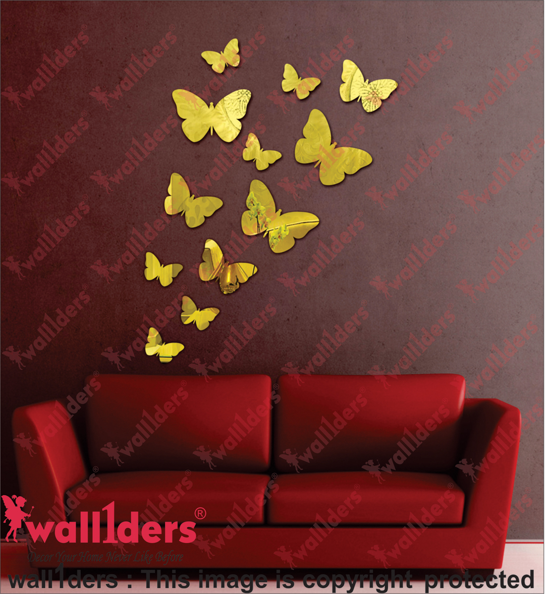 12 Deifferent Size Butterfly Golden PREMIUM QUALITY 3D Acrylic Mirror wall stickers for home office