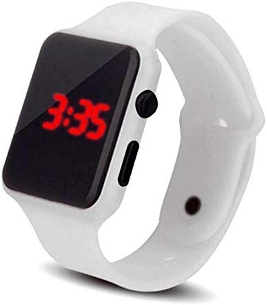 Varni Retail White Sport LED Dispaly Digital Square Watch