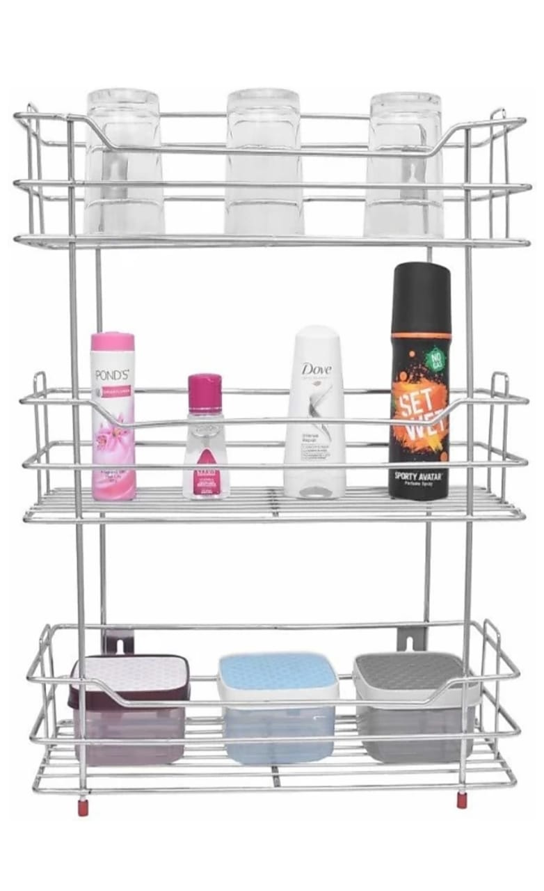 Stainless Steel pull out Multi Purpose Storage Rack Kitchen, Bathroom Shelves and Racks, Wall Mounted Rack for Home