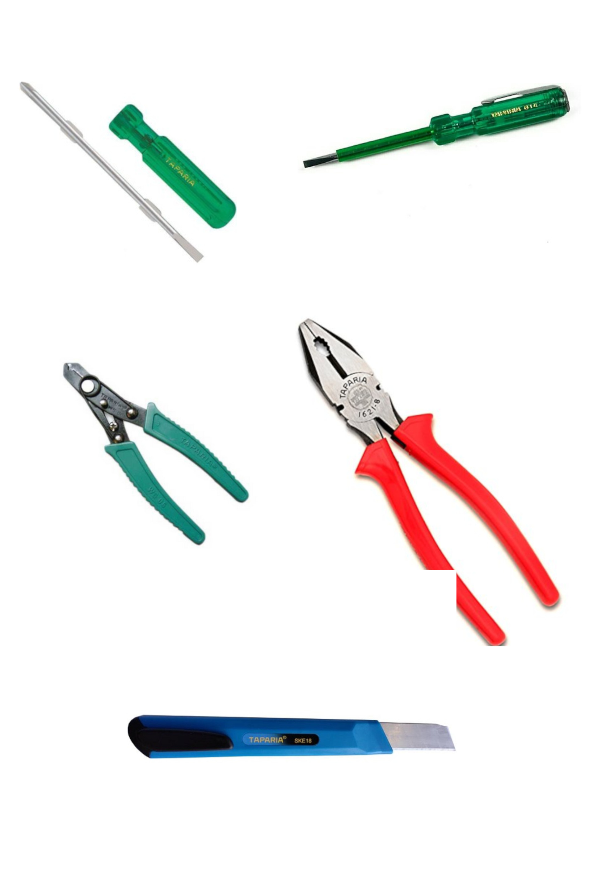TAPARIA Combination Pliers 210mm/2 in 1 Screw Driver/Wire Stripper/Screw Driver Tester  Set of 4
