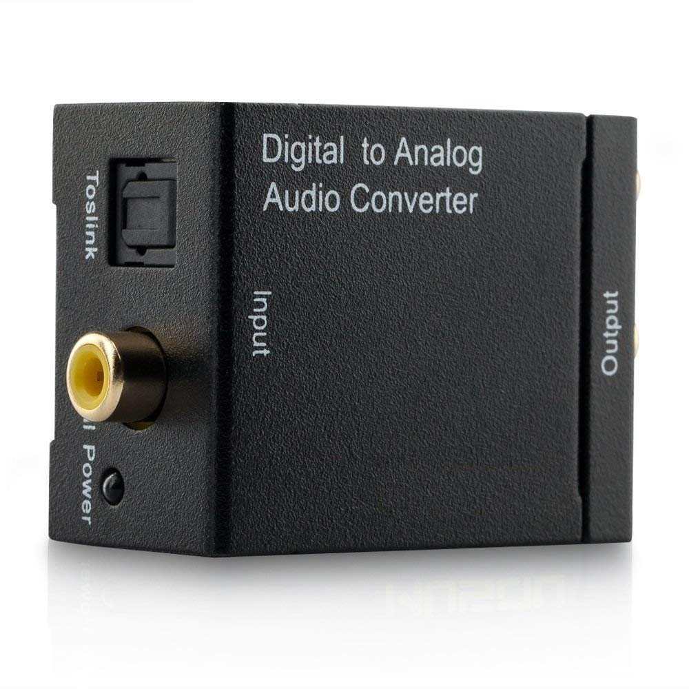 CARORS Digital to Analog Audio Converter SPDIF Optical Coax to Analog RCA 2.1 Stereo Audio Converter Adapter.