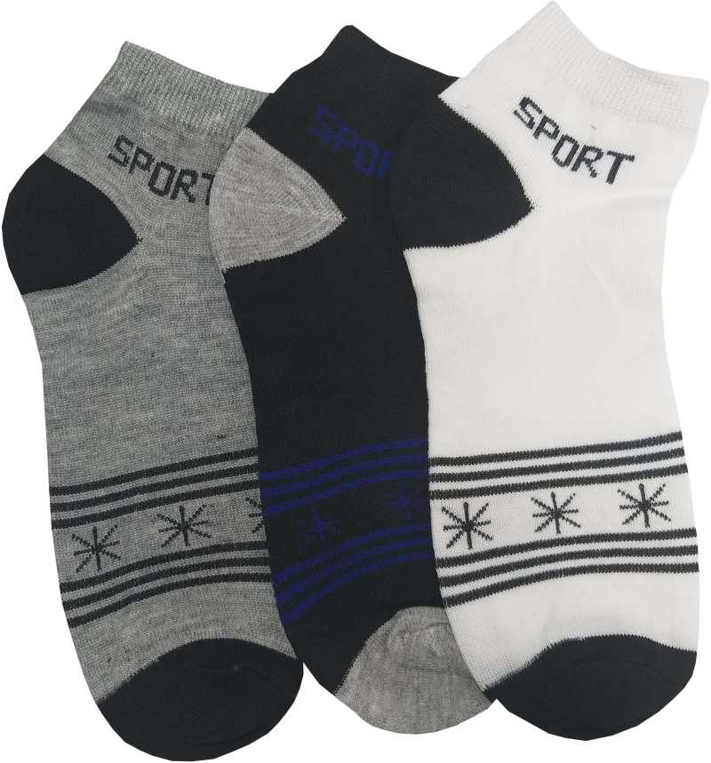 Sports Unisex Ankle Length Cotton Socks Pack of 3 Pairs  Assorted Color