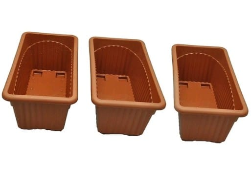 Screen Shopping Store Plastic Rectangle Pot  13 inch, Brown, Pack of 3