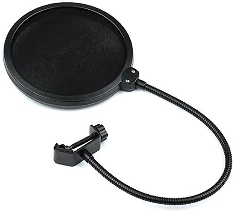 Professional Double Layer Mic Studio Pop Filter for Condenser Microphone Wind Screen/360 Flexible Gooseneck Holder, Pr