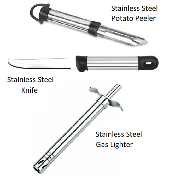 Evershine 3 In 1 Kitchen Tool Combo Stainless Steel Gas Lighter, Knife, Peeler Kitchen Tools Set
