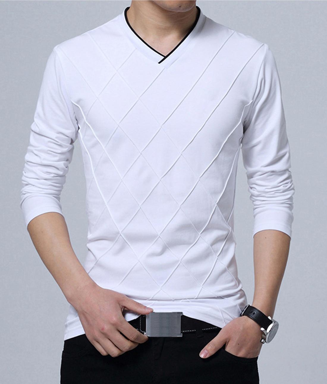 Lime V neck solid T shirt for men