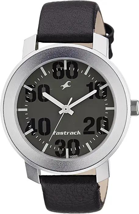 Fastrack Analog Quartz 3121sm01 Black Dial Round Leather Strap Formal Watch for Men