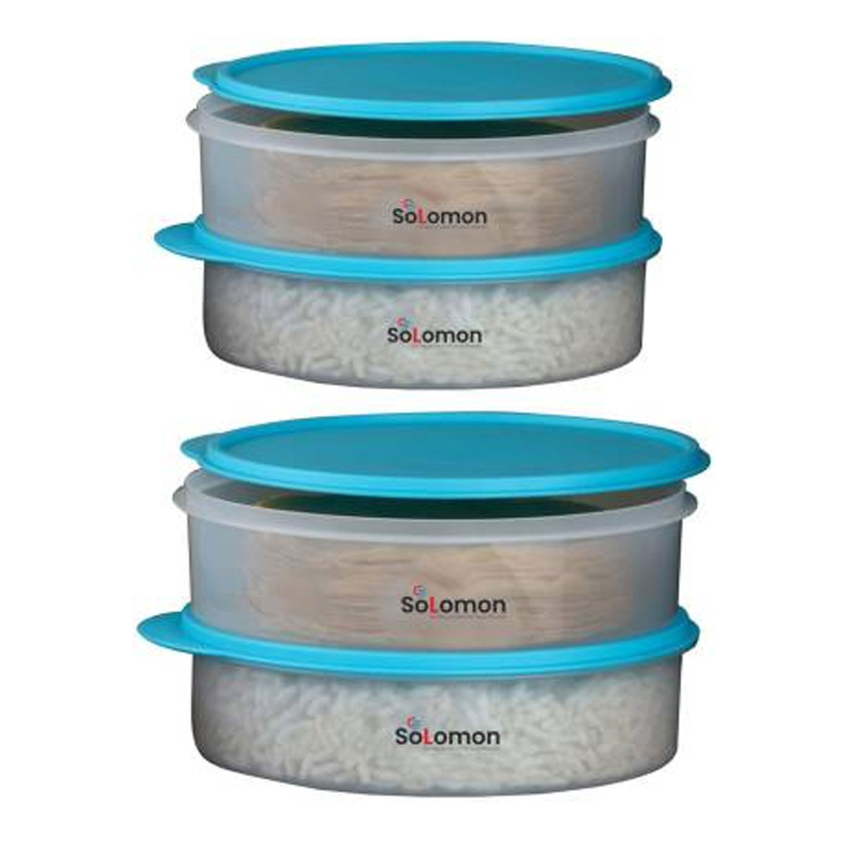 Solomon Premium Quality Multi Purpose Storage Round Container Best for khakhra chapati 2000 ML  PACK OF 4,SKY BLUE