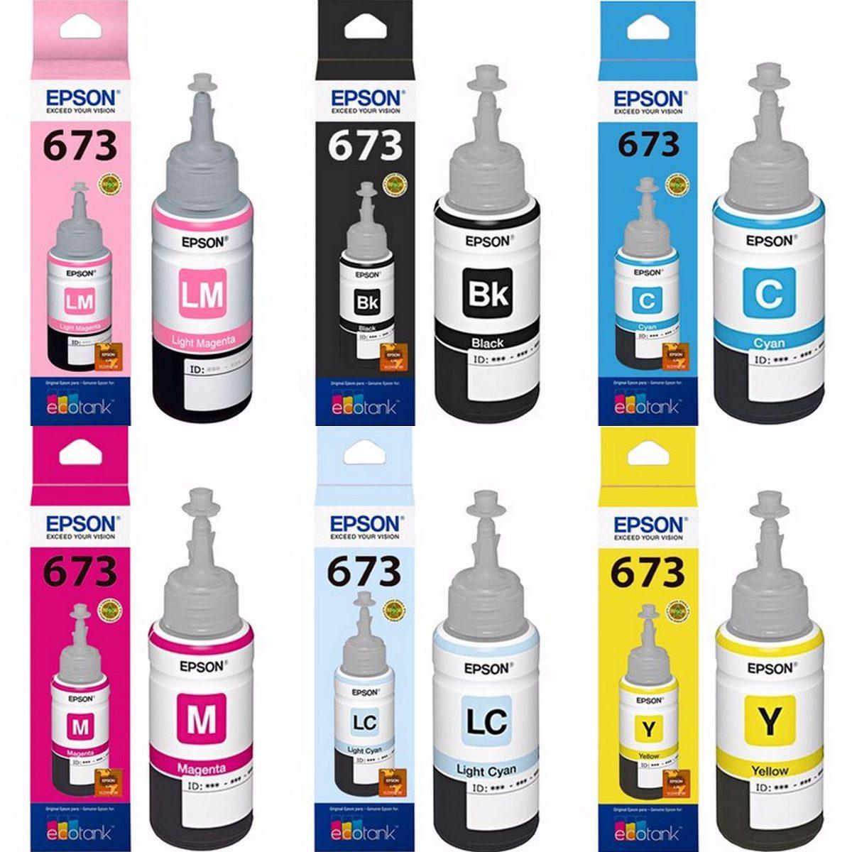 Epson 673 For L800/L850/L1800 Multicolors Ink Pack of 6 Ink bottle Black + Tri Color Combo Pack Ink Bottle