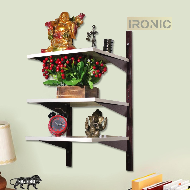 IRONIC Slotted Channel Rack Multipurpose Adjustable Iron Rack for Kitchen  Wall Mounted   3 Shelf