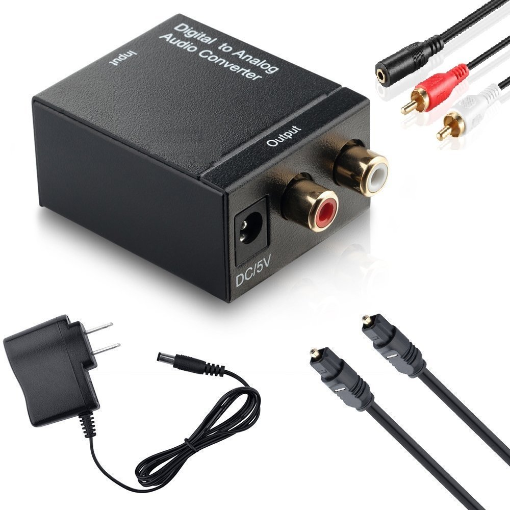 CARORS Combo Digital to Analog Audio Converter + Toslink SPDIF Optical Cable + Analog RCA 2.1 Stereo Cable. Full Set of