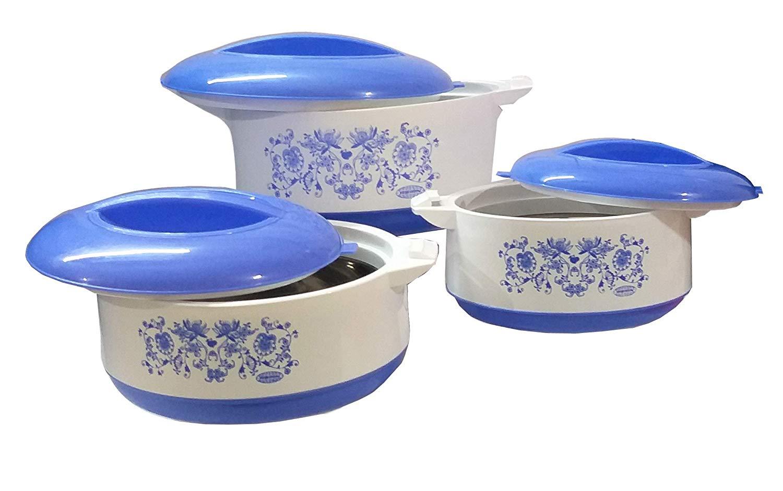Asian Premium Insulated Steel Casseroles Set 3 Sizes Blue