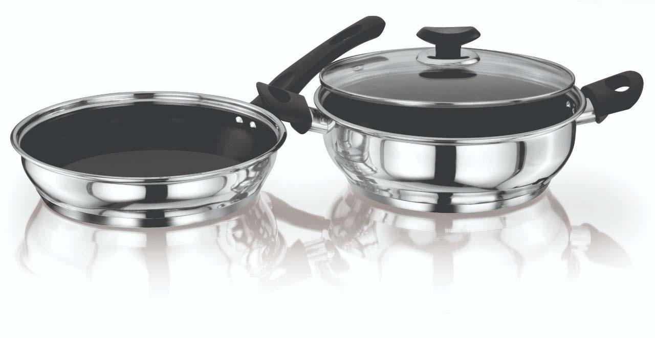 Kitchenart Stainless Steel Encapsulated Bottom 3pcs Cookware Set Fry Pan 26 CM   Kadai 26 CM diameter with Toughened Glass Fry Pan 26 cm diameter with Lid