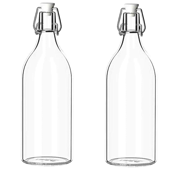 Glass Bottle, 1L, Set of 2, Transparent