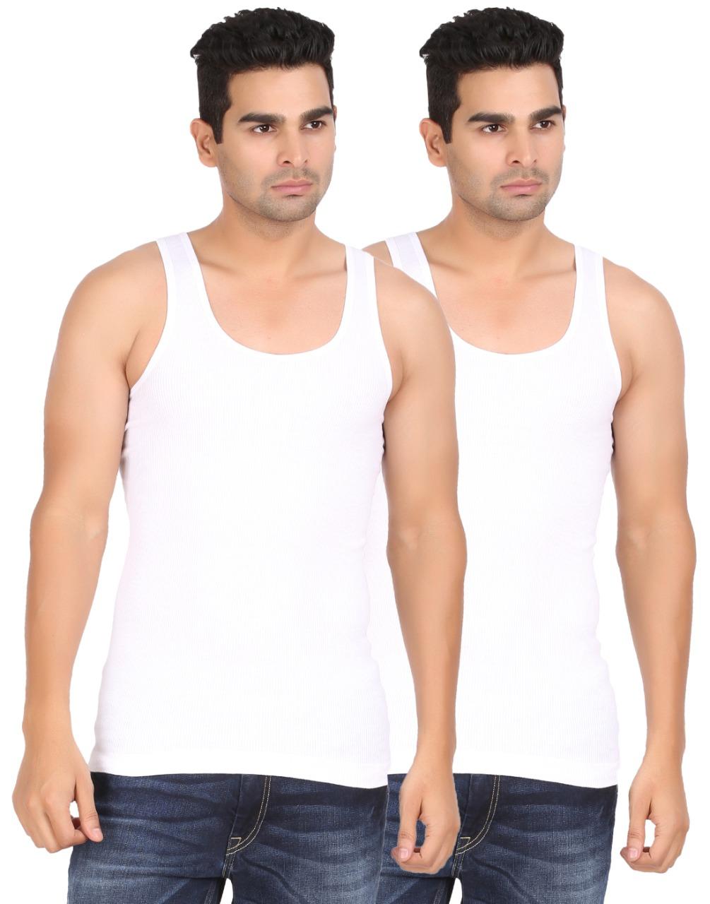 Lyril Men Premium White Vest   Pack of 2