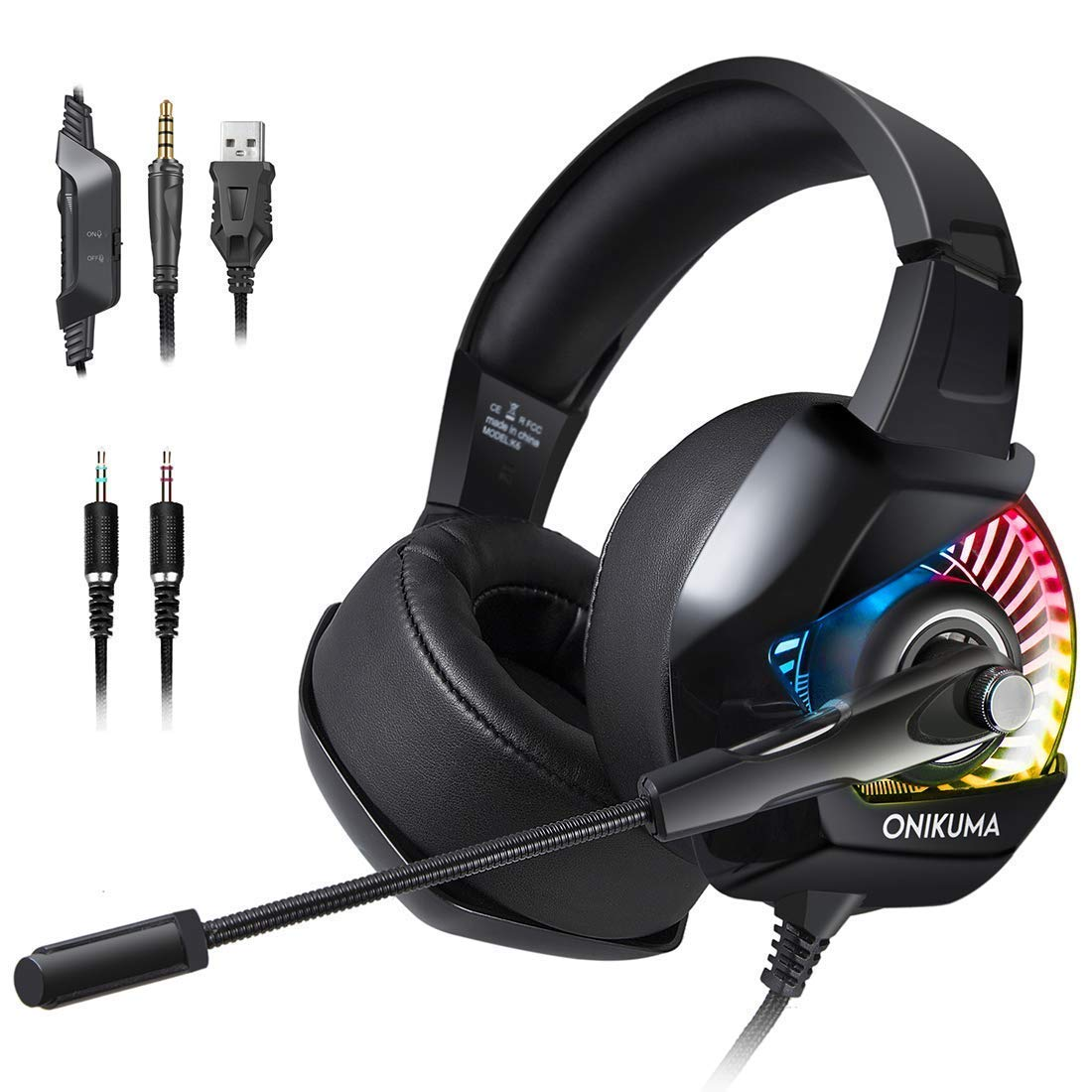 Onikuma K6 R GB Gaming Headset Over Ear Wired With Mic