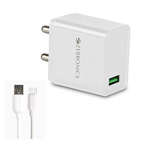 ZEBRONICS Zeb MA5311Q 18W Rapid Charge USB Charger Adapter with 1 Metre Type C Cable White
