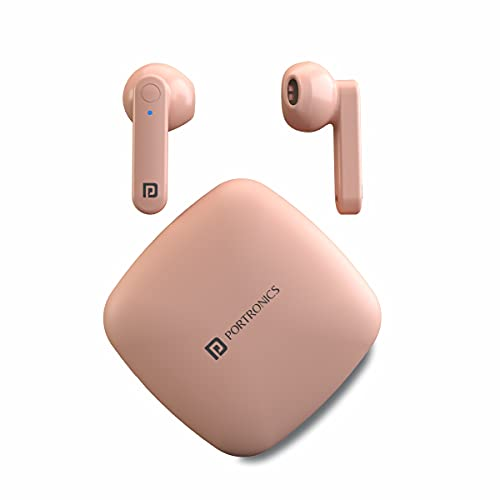 Portronics Harmonics Twins S2 Wireless Sports Earbuds Bluetooth 5.0 with Case I Type C Charging  Pink