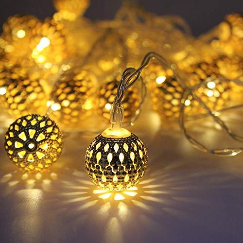 String Lights Moroccan Ball Multicolor 11ft 16LED Globe Fairy String Light Orb Lantern Decoration  Warm White