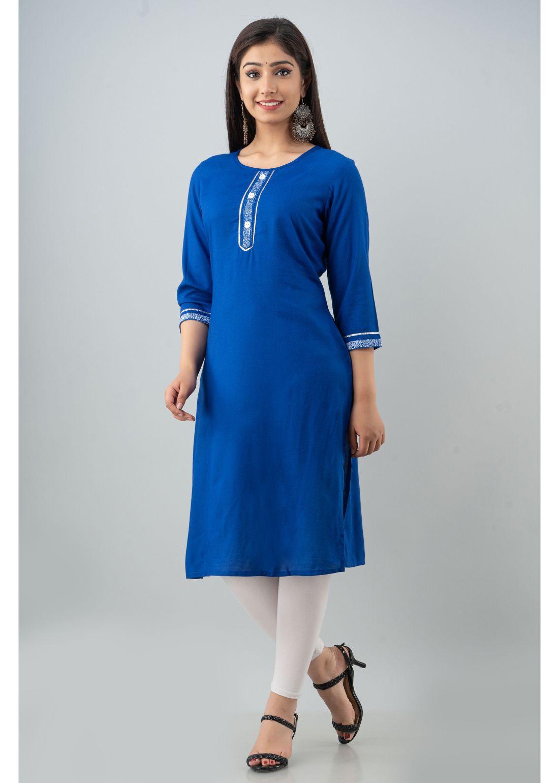 Women Solid, Printed Rayon Straight Kurta  Royal Blue