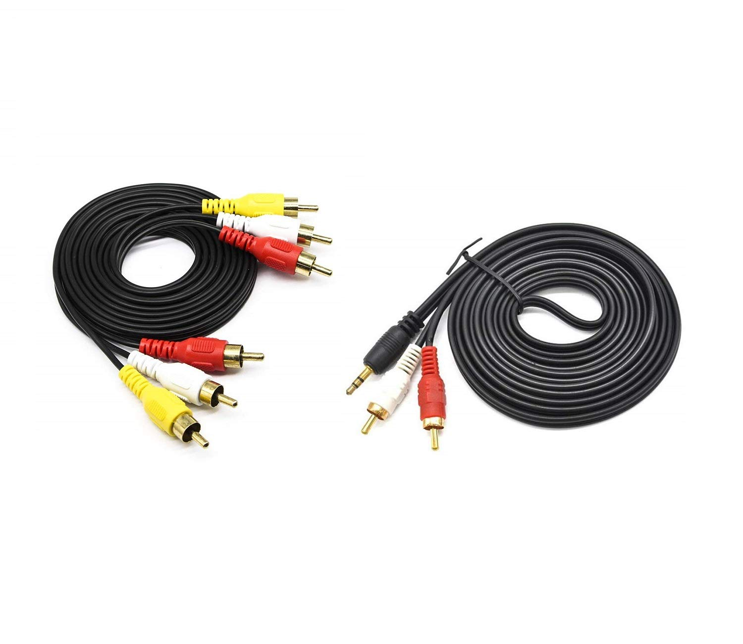 Combo 3.5mm Male to 2 RCA Male and 3RCA Male to 3RCA Male Stereo Audio Video Extension Cable pack of 2