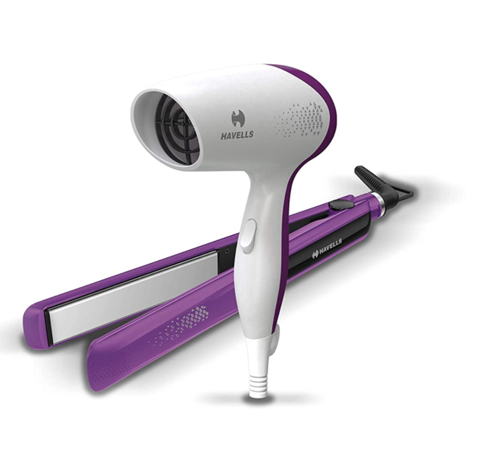 Havells HC4025 Combo Dryer+ Straightener Travel Friendly with Ionic Care for Healthy/ Shiny Hair Purple by Rmr JaiHind