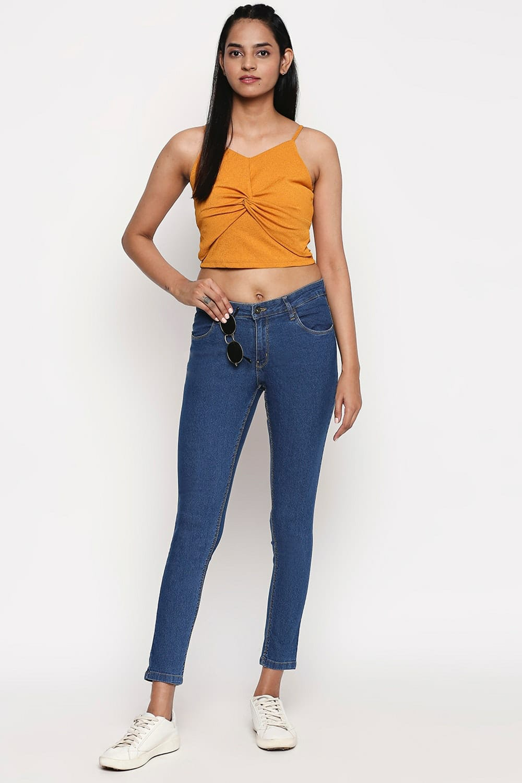 High Waist Slim Fit Blue Jeans for Women Girls
