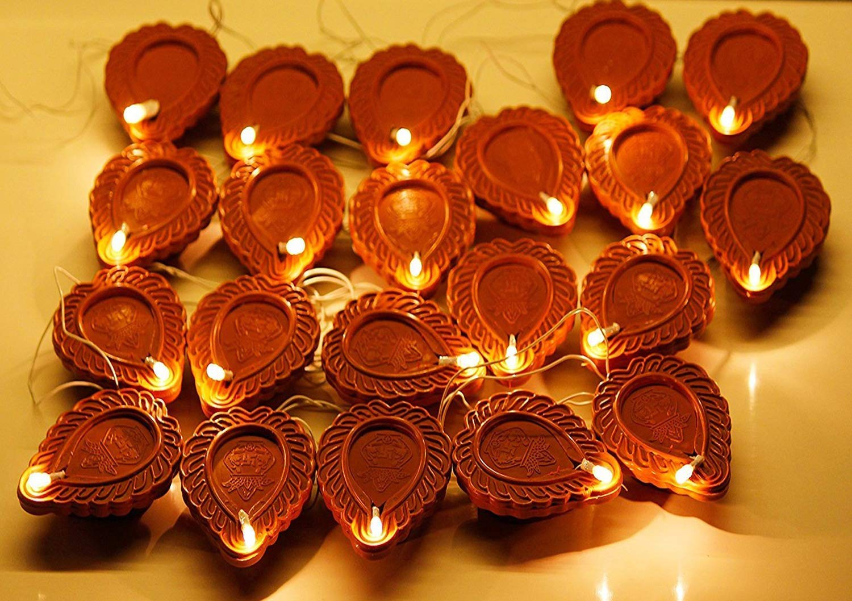 EXCLUSIVE NEW 2021 Light Brown Diya Light 2M Electric 21 Deepak LED Fairy String Series Lights
