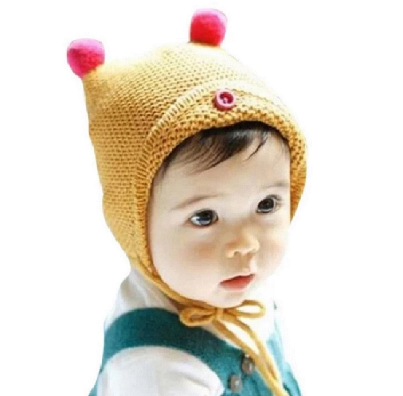 Ziory Winter Wear Knitted Baby Cap   Yellow  12 18 months