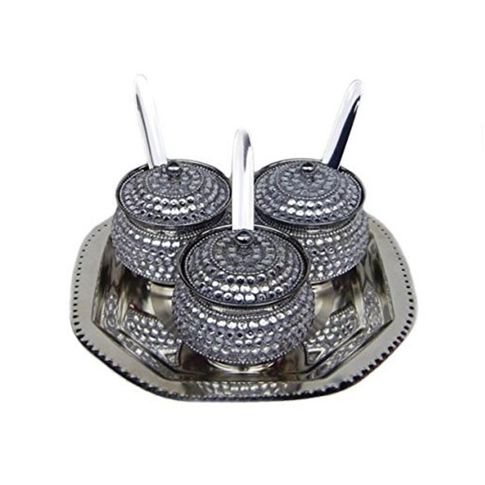 Rastogi Handicrafts Decorative 3 Bowl Tray Silver Stainless Steel Serving Set