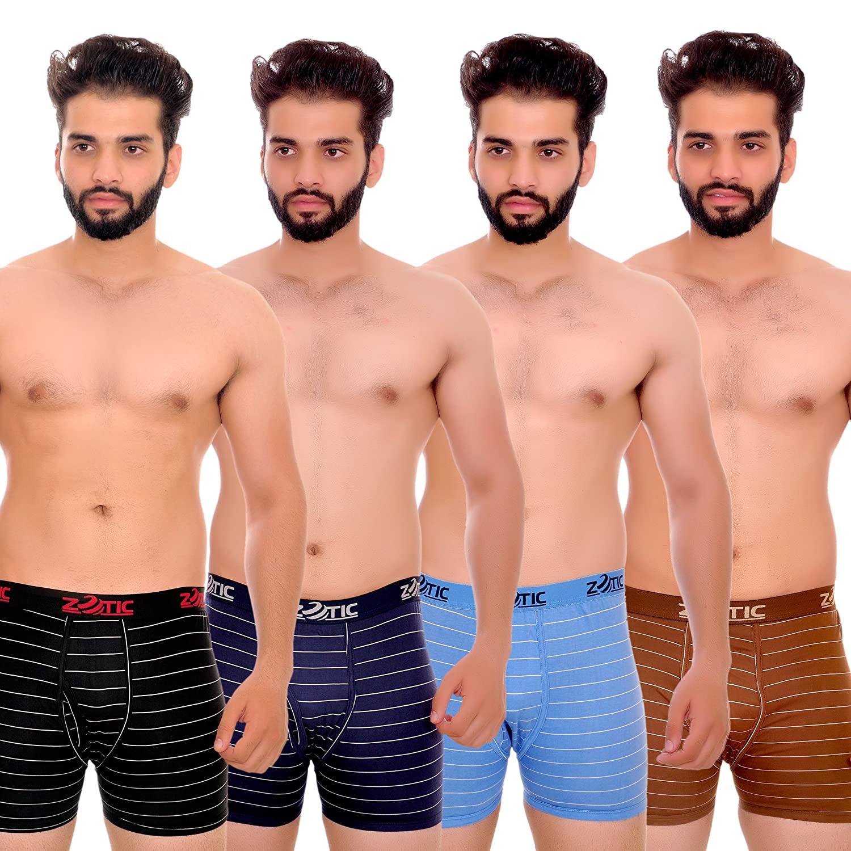 ZOTIC Men Trunk'H' Underwear Pack Of 4 Black,Blue,Gold,Navy