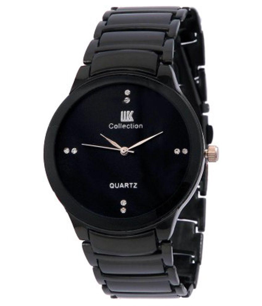 IIk Collection Round Dail Black Metal StrapMens Quartz Watch For Men