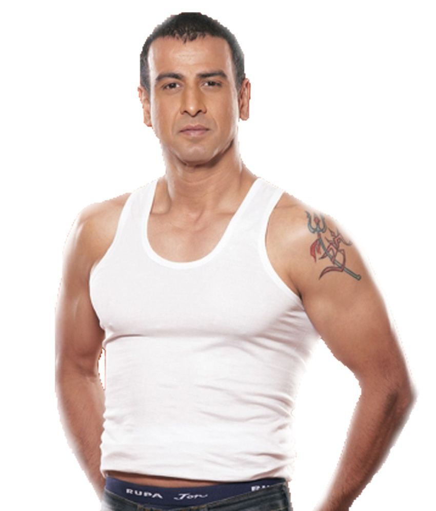 Rupa Jon Men Solid Cotton Vest  White