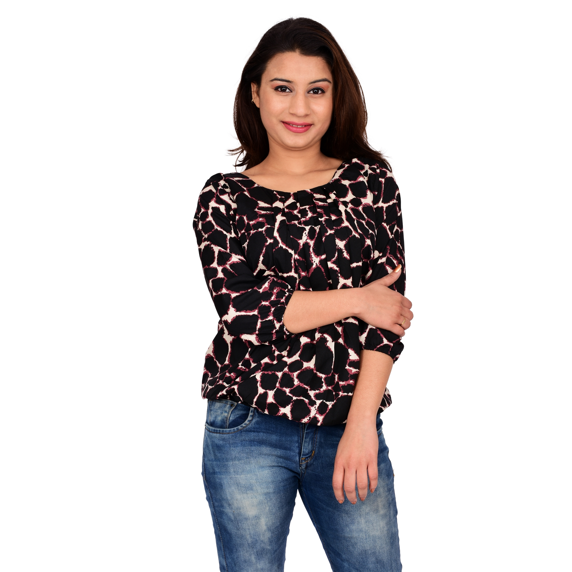 Bronze Women's Brown Black Color Printed Long sleeve Party Top