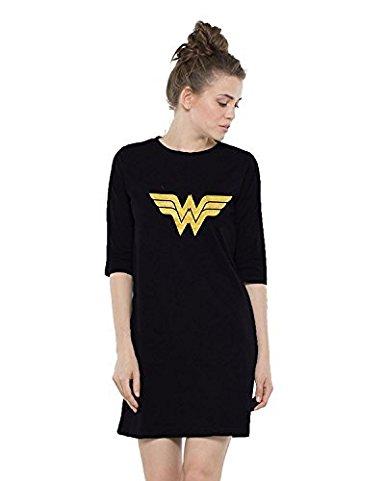 Wonder Woman Printed Women's Cotton 3/4 Sleeves T Shirt Dress