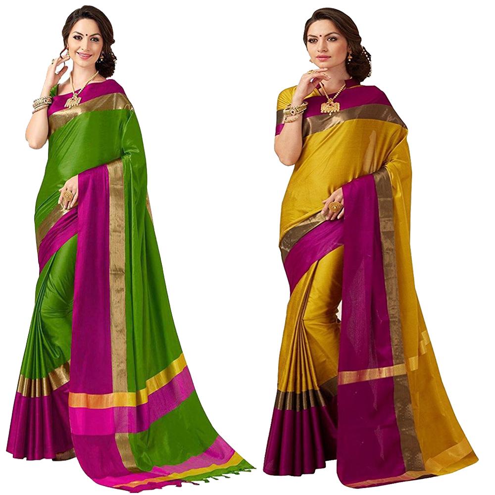 Mastani Women\'s Cotton Silk Bollywood Deigner Saree With  Pack of 2  Sarees