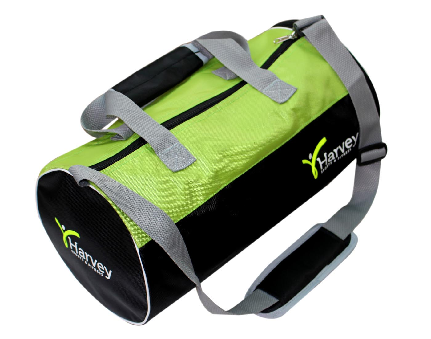 Gym Bag   Smart Waterproof Gym Bag Round Sports Duffel Bag with Shoe Compartment Travel Sports Bag HARVEY BLK GREEN