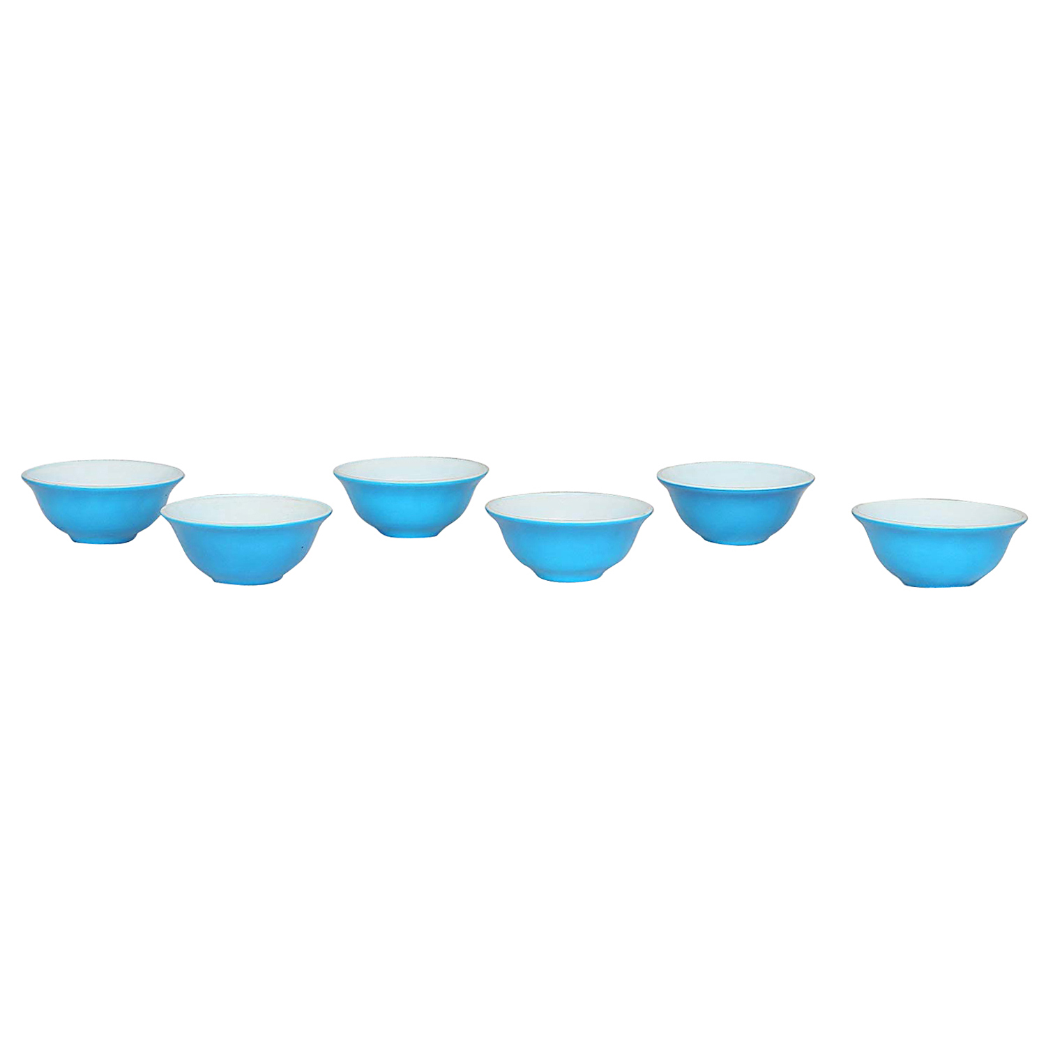adaraforever Exclusive Metalic Sky Blue White Opal Glass Bowl Size Small set of 6 pcs.