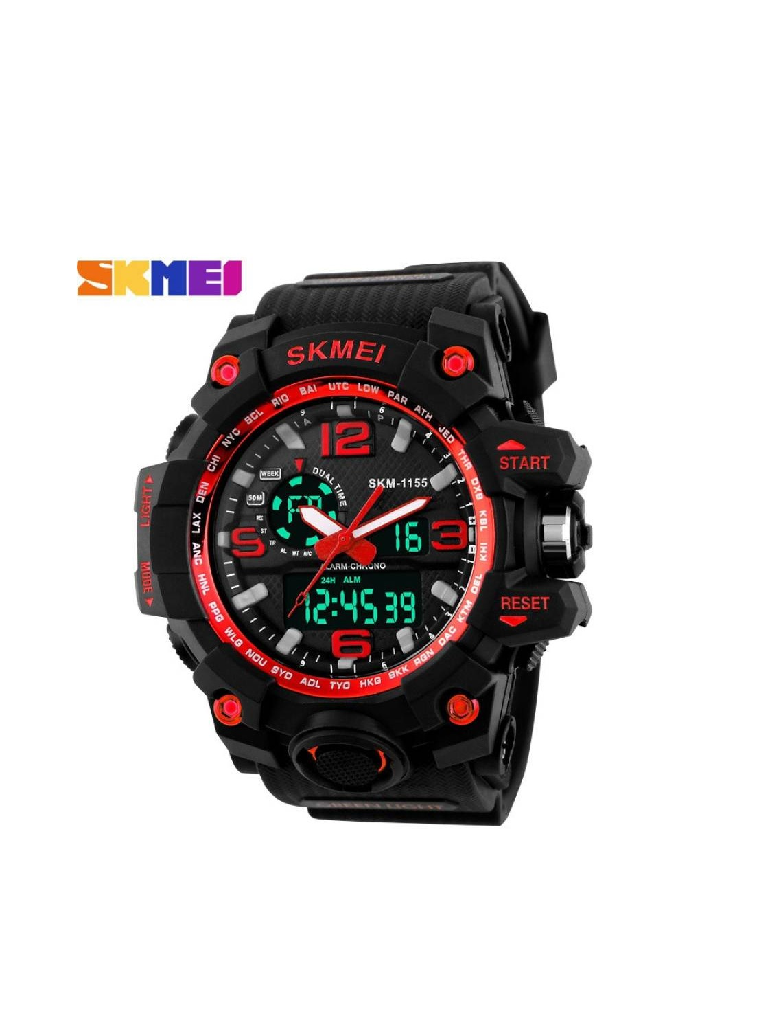 Skmei Skm 1155 Red Black Analog With Digital Best Looking Sport Watch For Men,Boys