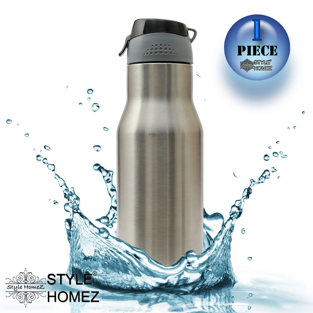 Style Homez Stainless Steel Water Sports Bottle 750 ml Gym Sipper Silver Chrome Color   BPA Free, Food Grade Quality