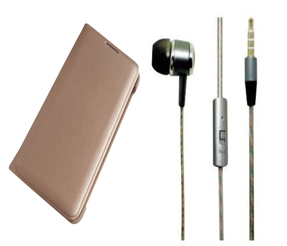 Redmi Note 4 Golden Leather Flip Cover with Universal Perfumed Noise Cancellation Earphones with Mic