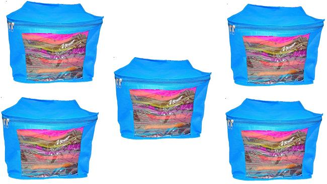 DIMONSIV Plain 10 Inch Ladies Large Non   Woven 5saree Cover. Upto 10   15 Saree Cover each  BLUE