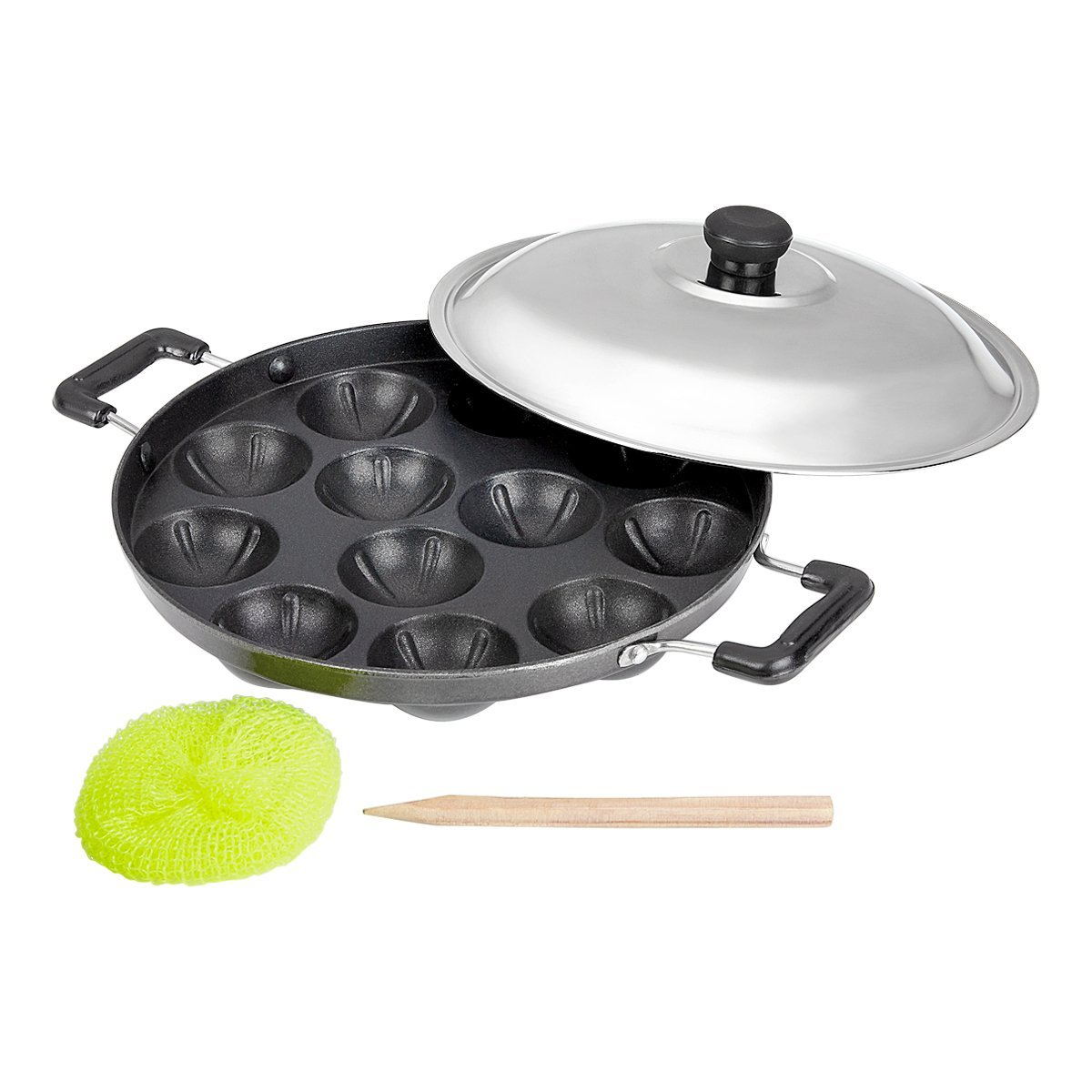 Dynore Premium Aluminium Non Stick 12 Cavity Silver Appam Patra Side Handle with lid  Color may vary