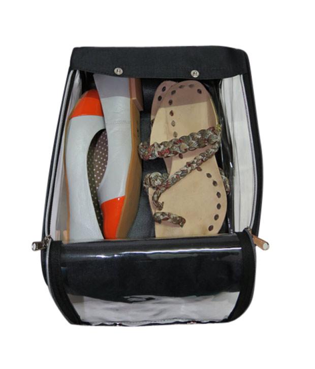 ADWITIYA  Black Transparent Nylon Shoe Footwear Sandal Boot Slipper Sneaker Storage Travel Friendly Organizer Gift Case