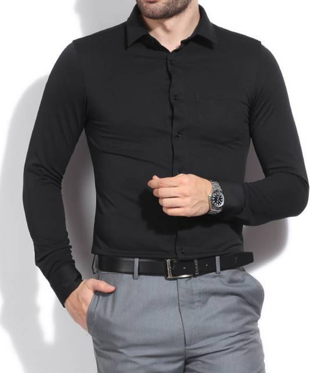 Tom T Men's Solid Casual Black Shirts