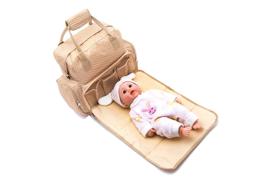 Baby Essentials Beige waterproof diaper bag for mom for travel with detachable nappy changing pad with free fashionable gift pouch